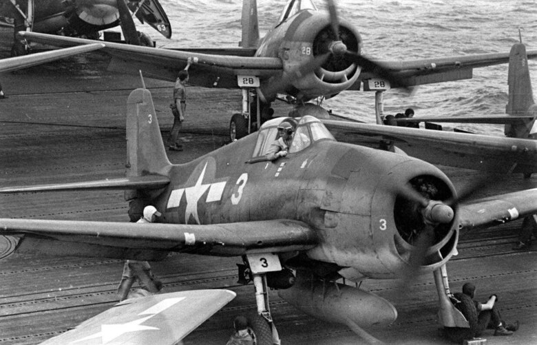 The Navy F-6F Hellcat, such as these assigned to the second USS Lexington, in summer 1944, conducted many of the attacks on Japanese aircraft during the battle of the Philippine Sea. It served as the Navy's dominant fighter in the second half of the Pacific War.