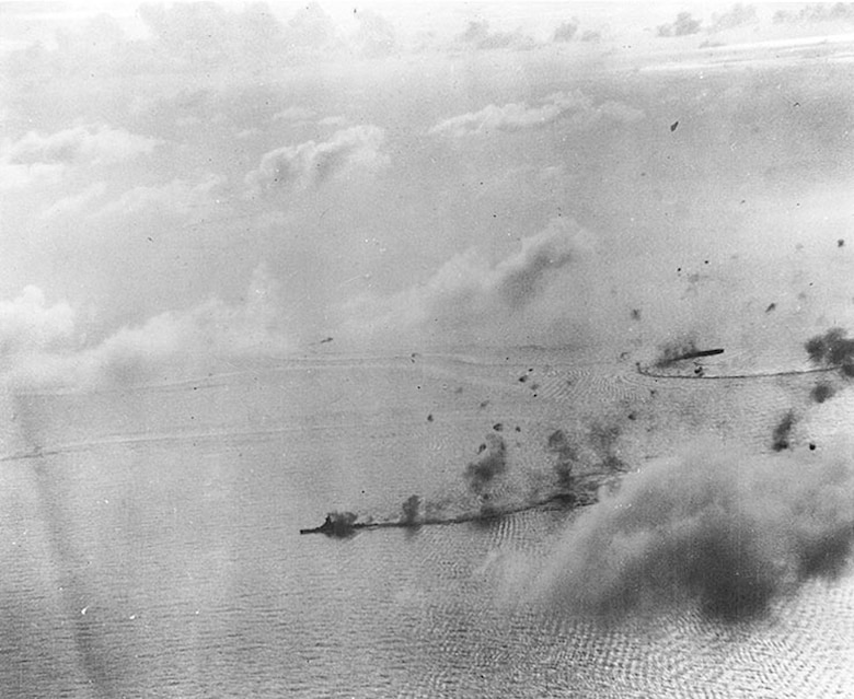 The Japanese fleet under attack during the battle of the Philippine Sea, June 19-20, 1944. The Japanese navy lost three carriers, two oilers and approximately 400 carrier- and 200 land-based aircraft.