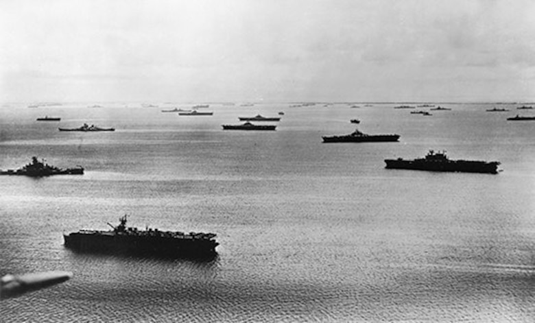 U.S. Navy Task Force 58 at anchor at Majuro, Marshall Islands, on April 25, 1944, prior to the battle of the Philippine Sea. It consisted of fifteen carriers, seven fast battleships 13 cruisers, 58 destroyers and about 900 aircraft at the time.