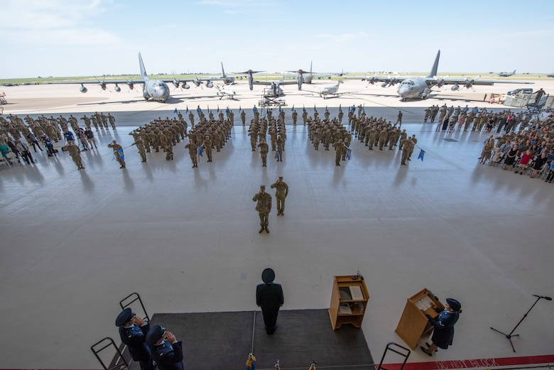 Members assigned to Cannon Air Force Base, N.M., render a salute for Lt. Gen. Jim Slife, Air Force Special Operations Command commander, at the 27th Special Operations Wing change of command ceremony, July 17, 2019. Col. Robert Masaitis took command from the outgoing commander, Col. Stewart Hammons. (U.S. Air Force photo by Tech. Sgt. Ashley Taylor)