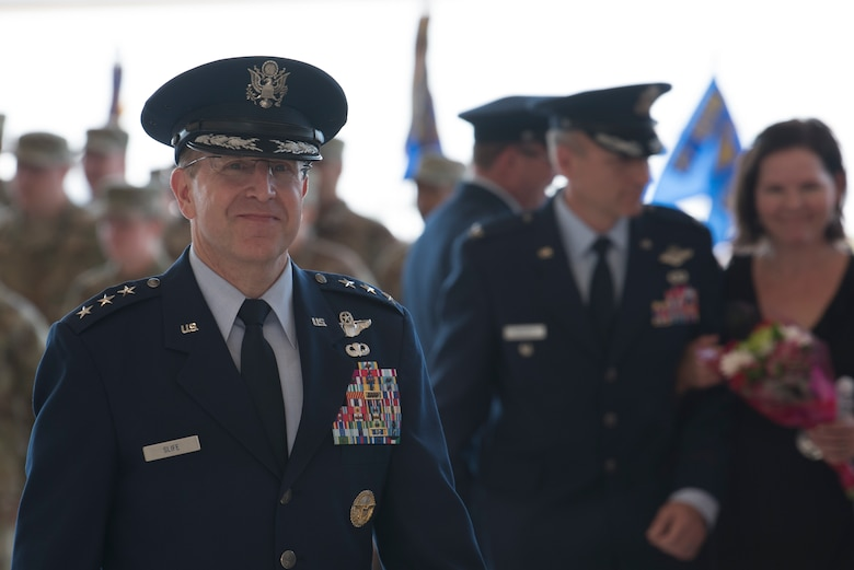 Lt. Gen. Jim Slife, Air Force Special Operations Command commander, departs the 27th Special Operations Wing change of command ceremony, July 17, 2019, at Cannon Air Force Base, N.M. Col. Robert Masaitis took command from the outgoing commander, Col. Stewart Hammons. (U.S. Air Force photo by Senior Airman Vernon R. Walter III)
