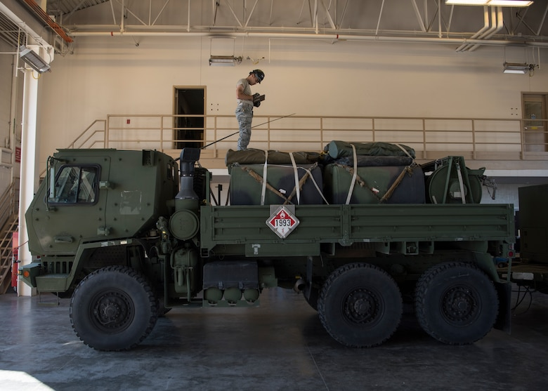 Airman 1st Class Everett Graham, 726th Air Control Squadron power production journeyman, takes inventory on a Medium Tactical Vehicle in preparation for an exercise July 9, 2019, at Mountain Home Air Force Base, Idaho. The 726th ACS Conducts deployment exercises in order to increase their mission readiness. (U.S. Air Force photo by Airman 1st Class Andrew Kobialka)