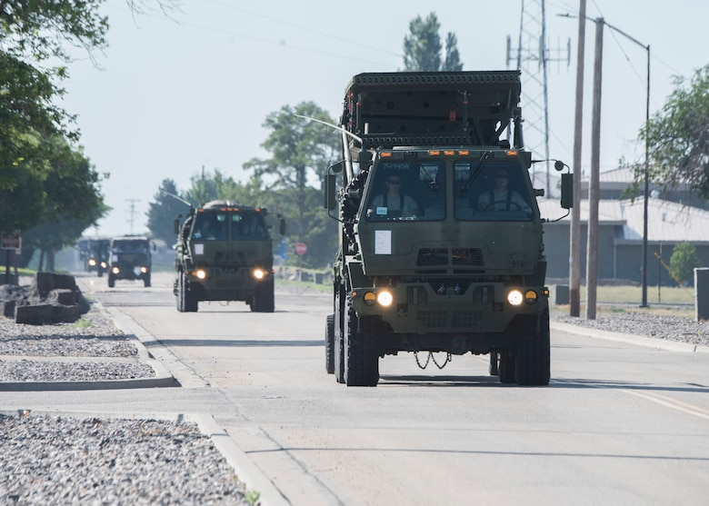 Airmen from the 726th Air Control Squadron travel in a convoy as they conduct their deployment readiness exercise July 14, 2019, at Mountain Home Air Force Base, Idaho. The 726th ACS conducts deployment exercises in order to increase their mission readiness. (U.S. Air Force photo by Senior Airman Tyrell Hall)