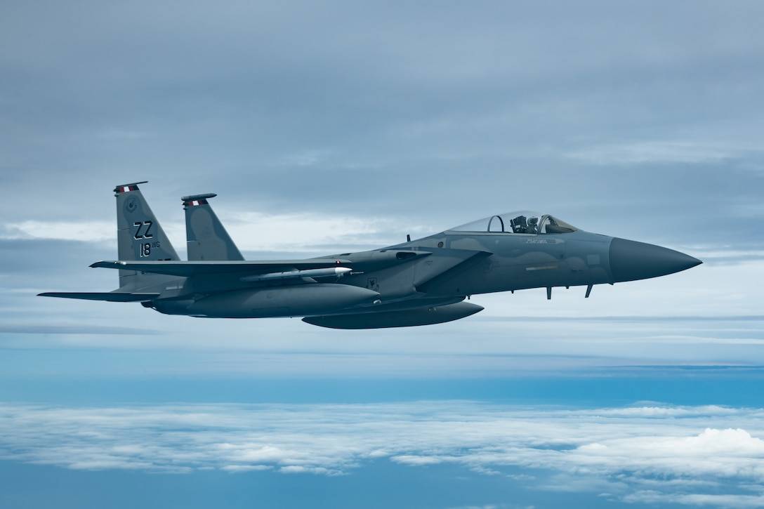 An F-15C Eagle from the 44th Fighter Squadron flies during a training exercise July 10, 2019, out of Kadena Air Base, Japan. The F-15C Eagle is an all-weather, maneuverable, tactical fighter designed to permit the Air Force to gain and maintain air superiority over the battlefield. (U.S. Air Force photo by Airman 1st Class Matthew Seefeldt)
