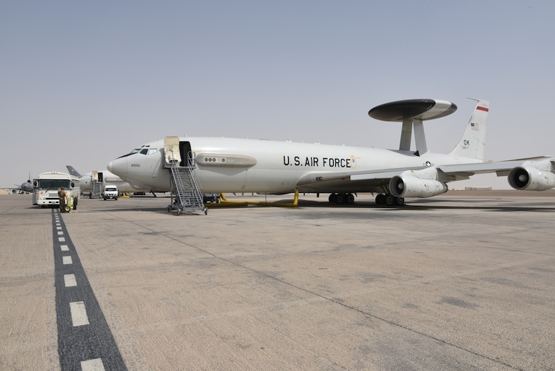 An E-3 Sentry Airborne Warning and Control System aircraft awaits its crew on Al Dhafra Air Base, United Arab Emirates, June 26, 2019.