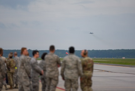 An F-22 Raptor from the 1st Fighter Wing, 27th Fighter Squadron takes off for a deployment to Al Udeid Air Base, Qatar, from Joint Base Langley-Eustis, Virginia. The F-22's deployed to Qatar for the first time in order to defend American forces and interests in the U.S. Central Command area of responsibility. (U.S. Air Force Photo by Airman First Class Monica Roybal)
