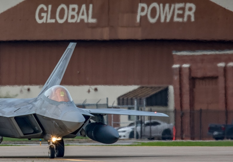 An F-22 Raptor from the 1st Fighter Wing, 27th Fighter Squadron prepare to take-off during a deployment to Al Udeid Air Base, Qatar, from Joint Base Langley-Eustis, Virginia. The F-22's deployed to Qatar for the first time in order to defend American forces and interests in the U.S. Central Command area of responsibility. (U.S. Air Force Photo by Tech Sgt. Carlin Leslie)