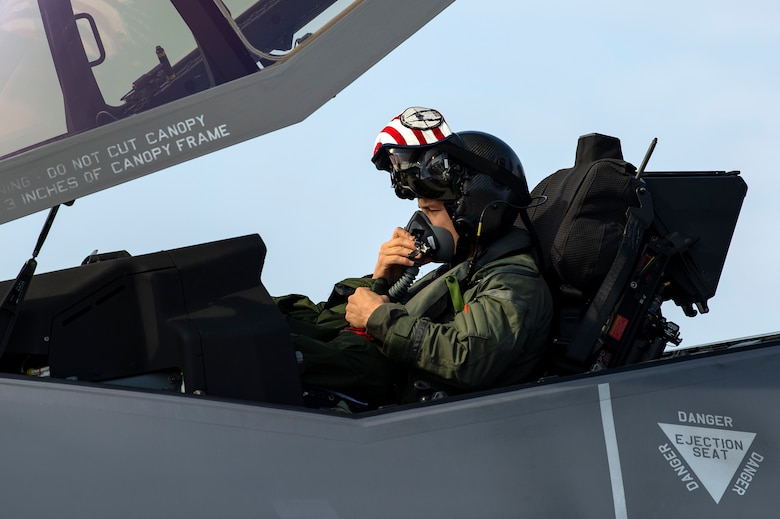U.S. Air Force Capt. Joseph Walz, 421st Fighter Squadron F-35A Lightning II pilot, prepares to taxi during Operation Rapid Forge at Spangdahlem Air Base, Germany, July 18, 2019. The goal of the operation is to enhance interoperability with NATO allies and partners to improve combined operational capabilities. F-35s provide unmatched lethality, survivability, and adaptability to war-fighter aircraft. (U.S. Air Force photo by Airman 1st Class Valerie Seelye)