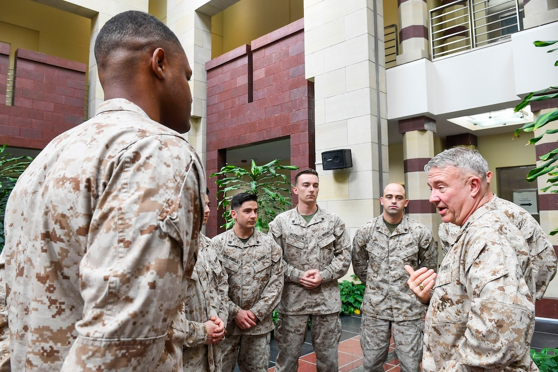 U.S. Marine Corps Gen. Kenneth F. McKenzie Jr., the commander of U.S. Central Command, visits the Marine Security Guard Detachment, U.S. Embassy, July 16, 2019. While touring the Central region, McKenzie met with forward deployed troops and reaffirmed the U.S. commitment to security and stability in the region. (U.S. Marine Corps photo by Sgt. Roderick Jacquote)