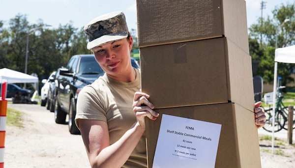 A Puerto Rico National Guard soldier prepares to transport food and water to the municipality of Jayuya, Puerto Rico after Hurricane Maria hit, September 27, 2017. DLA Troop Support's Subsistence supply chain partnered with FEMA to provide more nutritious meals in preparation for the upcoming hurricane season. (U.S. Army National Guard photo by Sgt. Jose Ahiram Diaz-Ramos)