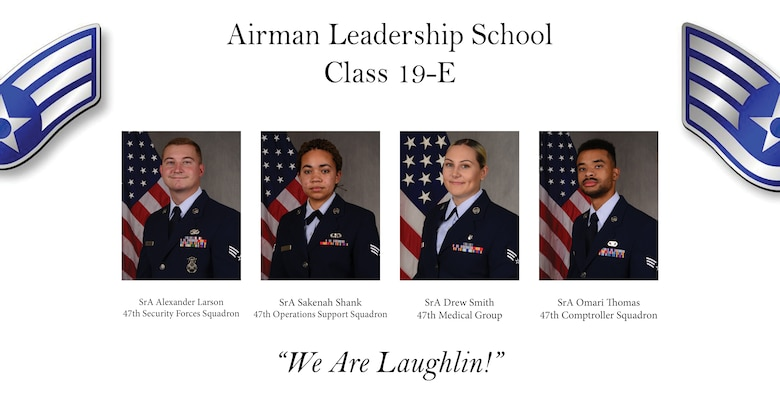 Airman Leadership School Class 19-E graduated after four weeks of training, July 11, 2019, at Goodfellow Air Force Base, Texas. Airman Leadership School is a course designed to give students a better understanding of their role as a supervisor, and is a prerequisite of joining the non-commissioned officer ranks. (U.S. Air Force graphic by Staff Sgt. Benjamin N. Valmoja)