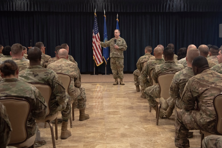 Lt. Gen. Jim Slife, Air Force Special Operations Command commander, addresses noncommissioned officers and master sergeants during a professional development seminar at Cannon Air Force Base, N.M., July 16, 2019. Slife discussed his expectations of members of AFSOC and how NCOs play a vital role to carry out the day-to-day mission. Slife also held a professional development seminar with officers, where he shared his Air Force experience. (U.S. Air Force photo by Tech. Sgt. Ashley Nicole Taylor)