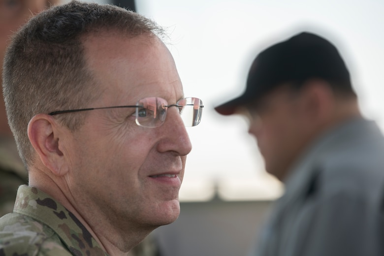 Lt. Gen. Jim Slife, Air Force Special Operations Command commander, looks out over Melrose Air Force Range, N.M., during an immersion tour July 15, 2019. Slife was shown around the facility to understand how Cannon's Air Commandos utilize it for training during a trip to Cannon Air Force Base, N.M. The following day, Slife toured privatized base housing to see where Air Commandos live. (U.S. Air Force photo by Senior Airman Vernon R. Walter III)