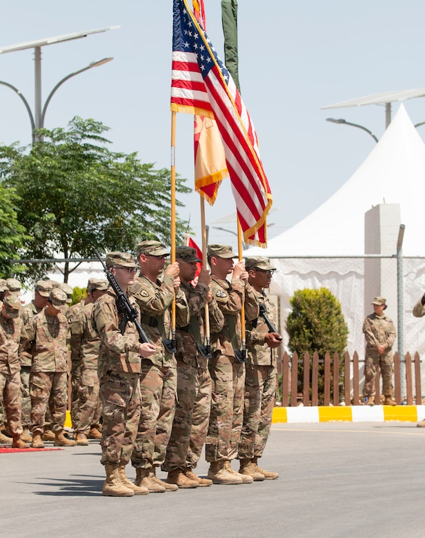 U.S. Army Soldiers with the 655 Regional Support Group (RSG), based out of Westover Air Reserve Base, stand in reverence for prayer during the Transfer of Authority for Area Support Group Jordan, held July 18, 2019 at the Joint Training Center. The Army Reserve unit assumed command from the 198 RSG, Arizona National Guard.