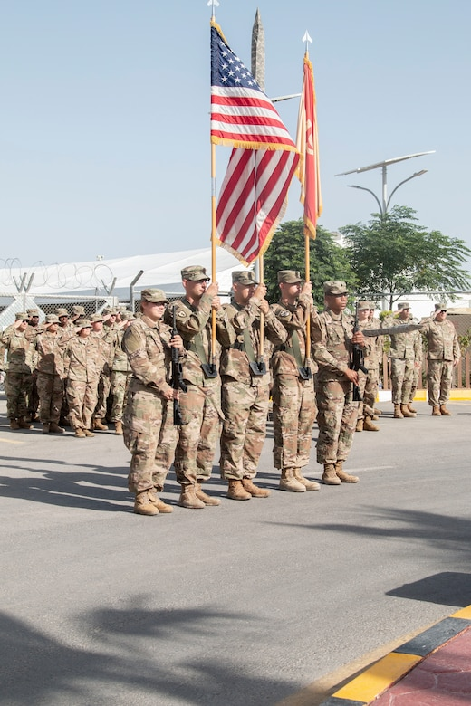 U.S. Army Soldiers with the 655 Regional Support Group (RSG), based out of Westover Air Reserve Base, render a salute to the Jordan and American National Anthems during Transfer of Authority for Area Support Group Jordan, held July 18, 2019 at the Joint Training Center. The Army Reserve unit assumed command from the 198 RSG, Arizona National Guard.
