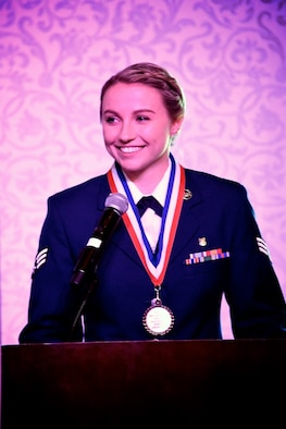 Senior Airman Haley Merkel is a 2019 graduate of the Airman Leadership School held on June 11, 2019, at Scott Air Force Base, Ill.  (U.S. Air Force photo by Lt. Col. Stan Paregien)
