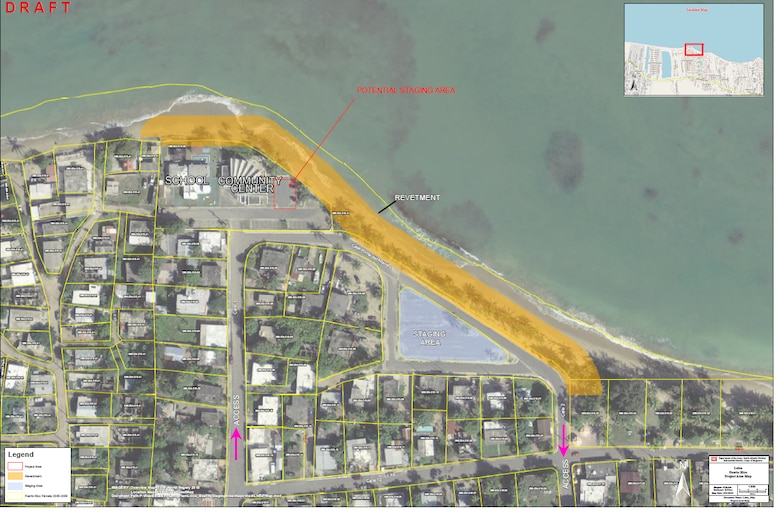 Overview of Loiza, PR with project area highlighted on the right hand side.