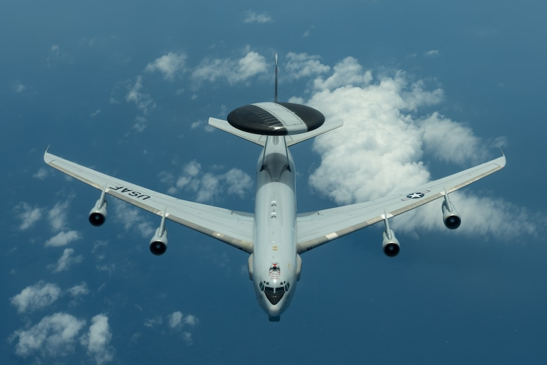 An E-3 Sentry from the 961st Airborne Air Control Squadron flies during a training exercise July 10, 2019, out of Kadena Air Base, Japan. The Sentry provides all-weather surveillance, command, control, and communications in support of a free and open Indo-Pacific. (U.S. Air Force photo by Airman 1st Class Matthew Seefeldt)