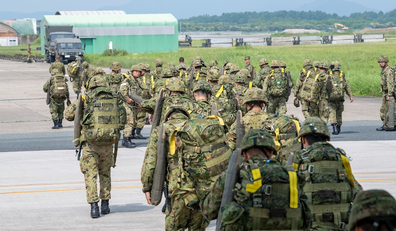 Japan Ground Self-Defense Force soldiers with the 1st Airborne Brigade