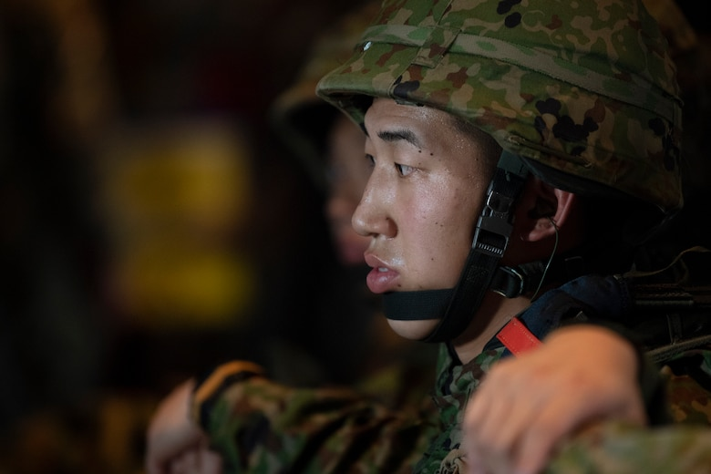 A Japan Ground Self-Defense Force soldier assigned to the 1st Airborne Brigade
