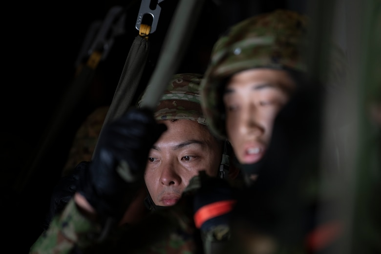 Japan Ground Self-Defense Force soldiers assigned to the 1st Airborne Brigade