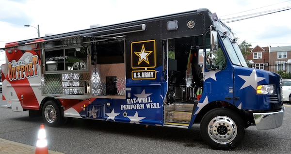 A new food truck purchased by the Defense Logistics Agency Troop Support for the Army's Joint Center of Culinary Excellence stopped at the DLA headquarters in Philadelphia on July 9, 2019.