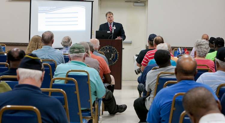 Veterans Affairs is working to provide enhanced options under the new law, called the MISSION Act. The Carl Vinson VA Medical Center held a special town hall at the American Legion Post 30 to share information on how the VA is strengthening its ability to provide veterans and retirees with state-of-the-art care and service, July 9. (U.S. Marine Corps photo by Re-Essa Buckels)