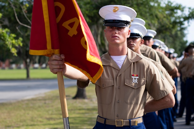 Private First Class Justin Sparks completed Marine Corps recruit training as a platoon honor graduate of Platoon 3048, Company I, 3rd Recruit Training Battalion, Recruit Training Regiment, aboard Marine Corps Recruit Depot Parris Island, South Carolina, July 19, 2019. Sparks was recruited by SSgt. Jared R. Busse from Recruiting Substation Charleston. (U.S. Marine Corps photo by Cpl. Erin R. Ramsay)