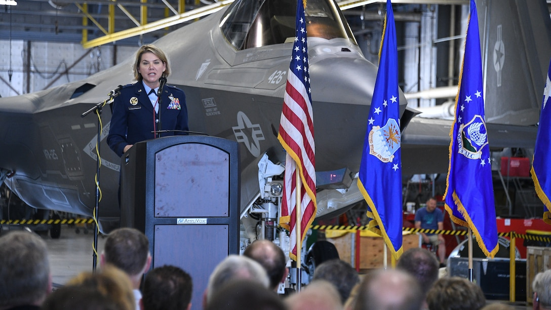 Brig. Gen. C. McCauley von Hoffman, incoming commander of the Ogden Air Logistics Complex, speaks during a change of command ceremony July 19, 2019, at Hill Air Force Base, Utah.