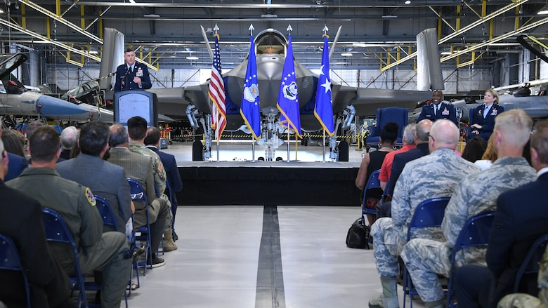 Lt. Gen. Donald Kirkland, Air Force Sustainment Center commander, speaks during an Ogden Air Logisitics Complex change of command ceremony July 19, 2019, at Hill Air Force Base, Utah.
