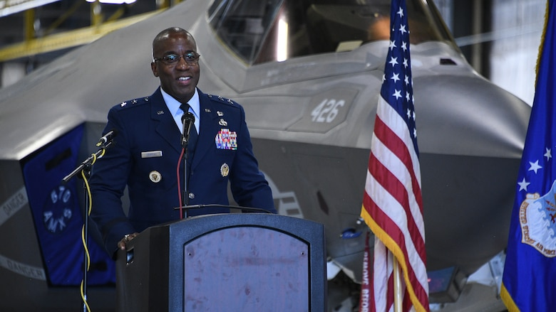 Maj. Gen. Stacey T. Hawkins, outgoing commander of the Ogden Air Logistics Complex, speaks during a change of command ceremony July 19, 2019, at Hill Air Force Base, Utah.