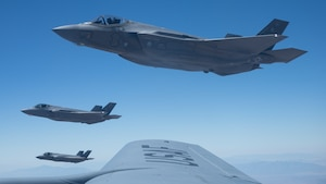 F-35A Lightning II's conduct air refueling operation