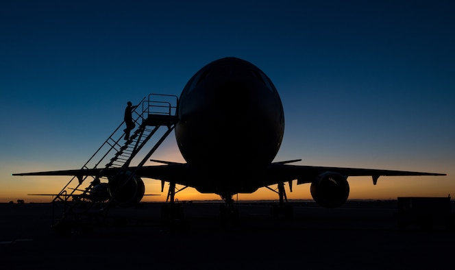 Airmen prepare a KC-10 Extender before a mission