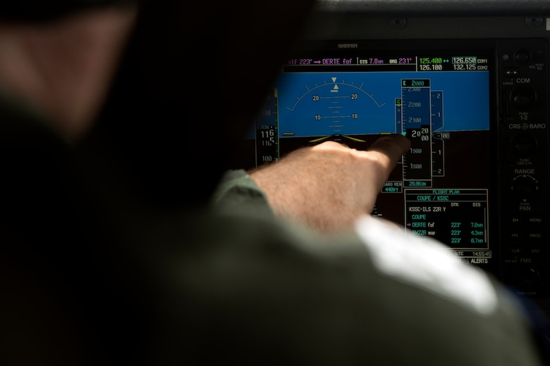 Civil Air Patrol (CAP) Lt. Col. Brett Grooms, pilot, points out details on flight instruments while flying his aircraft near Shaw Air Force Base, South Carolina, July 12, 2019.