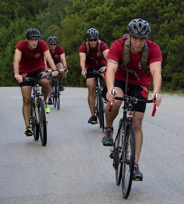 A team completes the 22-mile portion of the annual Rambler 120 Oct. 13, 2018, at Joint Base San Antonio Recreation Area at Canyon Lake, Texas.