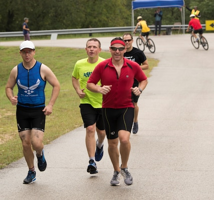 Members of Joint Base San Antonio compete in the Rambler 120 Oct. 13, 2018, at JBSA Recreation Area at Canyon Lake, Texas. Despite the forecasts of rain and wind, this year, there were about 150 participants