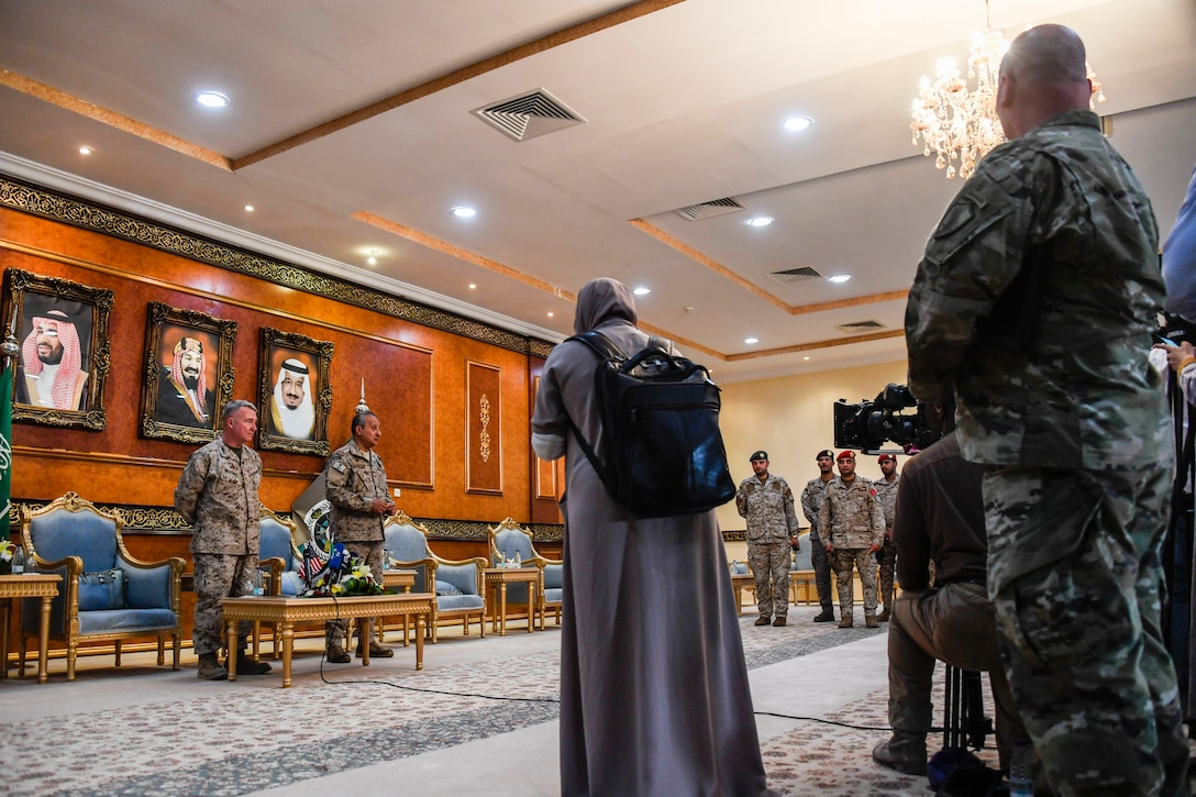 U.S. Marine Corps Gen. Kenneth F. McKenzie Jr., the commander of U.S. Central Command, and Lt. Gen. Fahd Bin Turki bin Abdulaziz al-Saud, commander of the Saudi-led coalition forces in Yemen, hold a press conference, July 18, 2019. While visiting the Central region, McKenzie met with forward deployed troops and key allied leaders and reaffirmed the U.S. commitment to security and stability in the region. (U.S. Marine Corps photo by Sgt. Roderick Jacquote)
