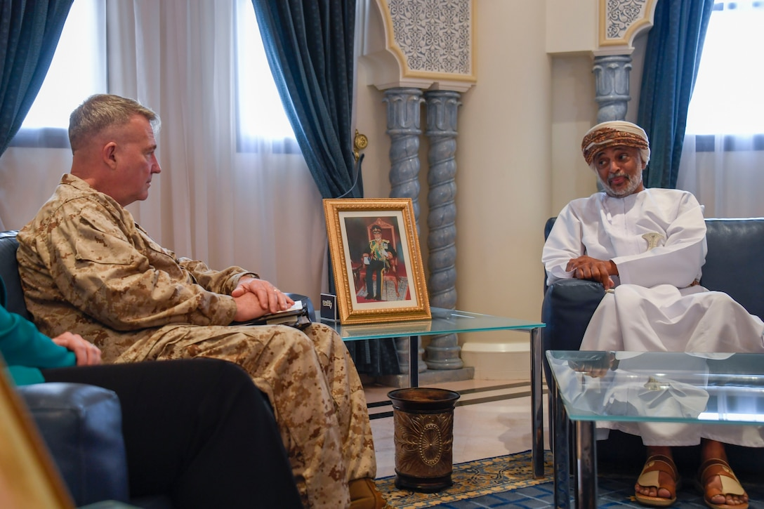 U.S. Marine Corps Gen. Kenneth F. McKenzie Jr., the commander of U.S. Central Command, left, talks with His Excellency Mohammed Al Rasbi, Secretary General of the Ministry of Defense of Oman, on Muaskar Al Murtafa Base, July 17, 2019. While visiting the Central region, McKenzie met with forward deployed troops and key allied leaders and reaffirmed the U.S. commitment to security and stability in the region. (U.S. Marine Corps photo by Sgt. Roderick Jacquote)