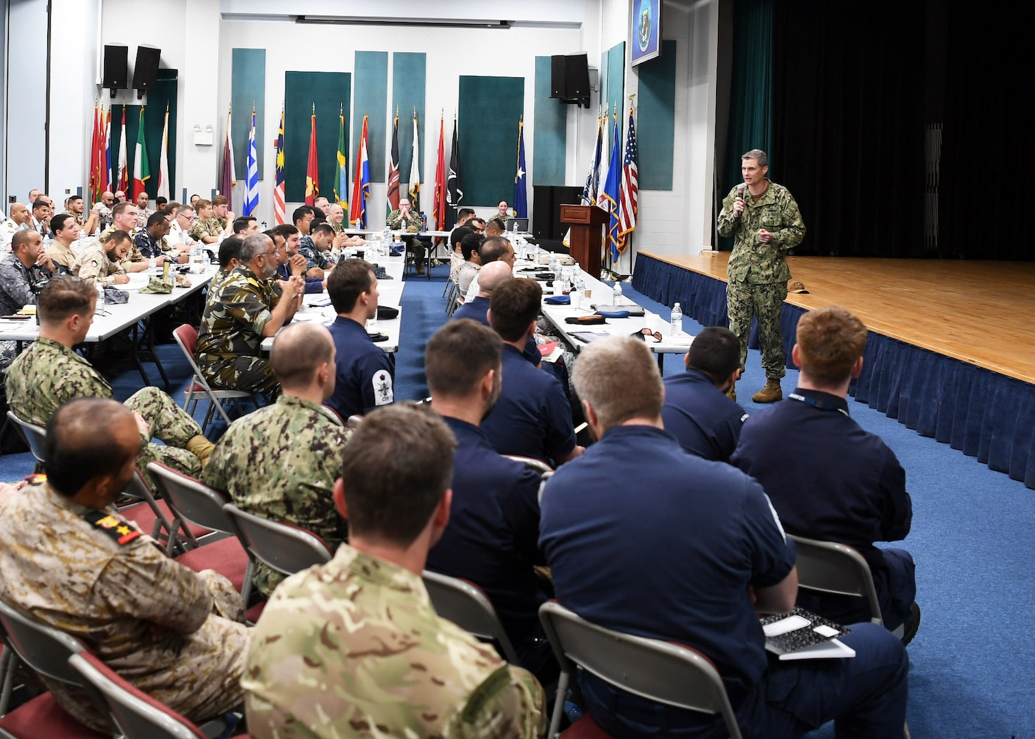 Rear Adm. Curt Renshaw, deputy commander, U.S. Naval Forces Central Command, addresses senior military leadership from countries participating in International Maritime Exercise (IMX) 19 during the IMX 19 final planning conference. IMX 19 is the world's most inclusive maritime exercise, designed to strengthen relationships, foster interoperability among supporting forces, and enhance maritime security operations, mine countermeasures (MCM), and maritime infrastructure capabilities in the U.S. 5th Fleet area of operations. (U.S. Navy photo by Mass Communication Specialist 1st Class Jason Abrams/Released)