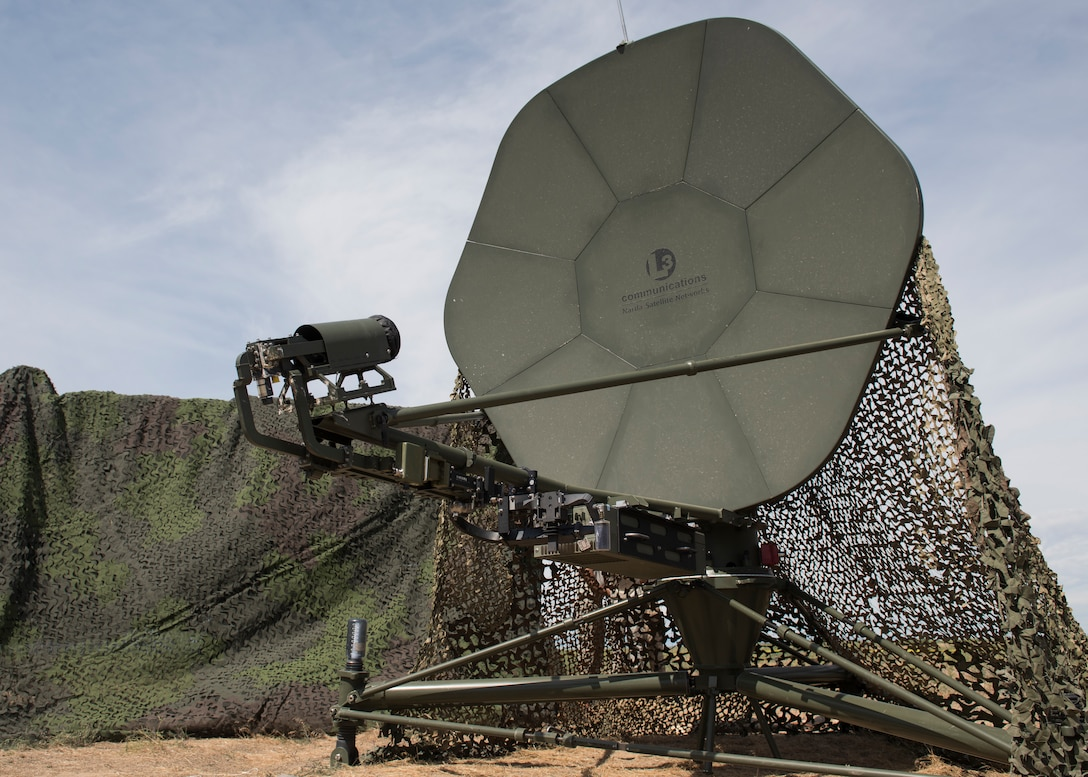 A Ground Multiband Terminal (GMT) during the 726th Air Control Squadron Hardrock Exercise 19-2 July 16, 2019, at Mountain Home Air Force Base, Idaho. The 726th ACS plays a vital role in the communication capabilities between personnel. (U.S. Air Force photo by Senior Airman Tyrell Hall)