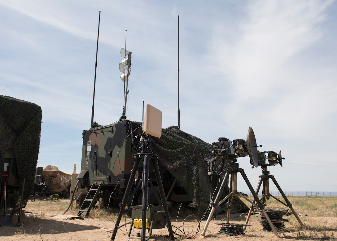 Tropo Satellite Support Radios (TSSR) during the 726th Hardrock Exercise 19-2 July 16, 2019, at Mountain Home Air Force Base, Idaho. The TSSR units are used for short range communication for distances within the line of site. (U.S. Air Force photo by Senior Airman Tyrell Hall)