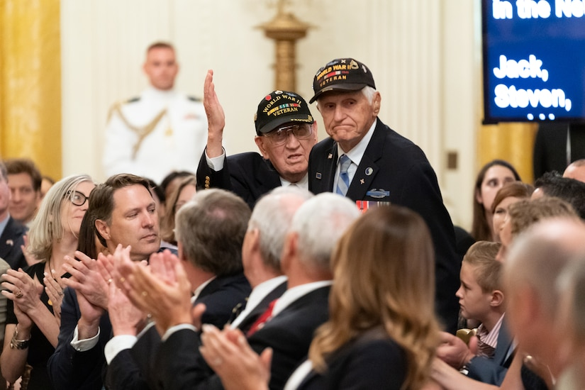 President Trump honors veterans at White House.