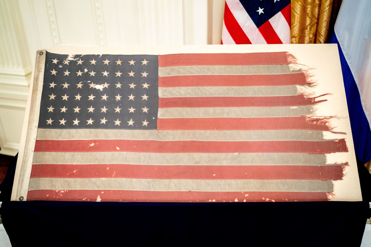 Ship's American flag from World War II.