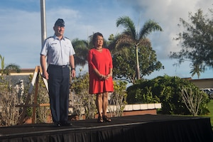 Brig. Gen. Gentry Boswell (left), 36th Wing commander, and Lou Guerrero (right),Governor of Guam, prepare to lay the memorial wreath as part of the RAIDR 21 memorial ceremony July 21, 2019 at Andersen Air Force Base, Guam.