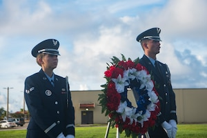 Airmen from the Blue Knights honor guard team participate in the RAIDR 21 memorial ceremony July 21, 2019 at Andersen Air Force Base, Guam.