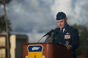 Col. Joseph Sheffield, 36th Operations Group commander, gives a speech during the RAIDR 21 memorial July 21, 2019 at Andersen Air Force Base, Guam.