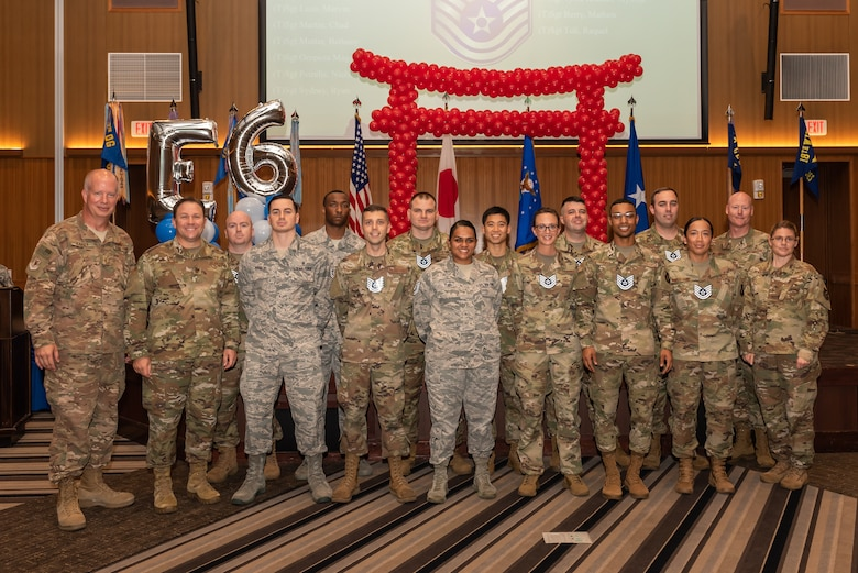 More than 250 staff sergeants from around the 18th Wing celebrate their promotion to technical sergeant on Kadena Air Base, July 19, 2019. The promotees are charged with being their organizations' technical experts, and must continuously strive to further their development as technicians, supervisors and leaders through on- and off-duty professional development opportunities. They are responsible for their subordinates' development and the effective accomplishment of all assigned tasks. They must ensure proper and effective use of all resources under their control to ensure the mission is effectively and efficiently accomplished. (U.S. Air Force photo by Airman 1st Class Matthew Seefeldt)