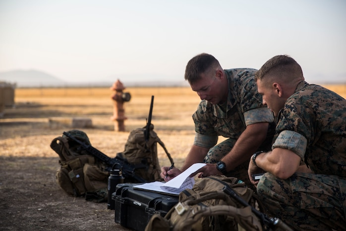 U.S. Marines with Special Purpose Marine Air-Ground Task Force-Crisis Response-Africa 19.2, Marine Forces Europe and Africa, prepare for departure on Moron Air Base, Spain, July 15, 2019, during a tactical recovery of aircraft and personnel training exercise. TRAP is a core function of a crisis-response force and SPMAGTF-CR-AF 19.2 consistently trains to increase TRAP proficiency by rehearsing realistic scenarios which force the Marines and Sailors to make quick decisions under stress. SPMAGTF-CR-AF is deployed to conduct crisis-response and theater-security operations in Africa and promote regional stability by conducting military-to-military training exercises throughout Europe and Africa. (U.S. Marine Corps photo by Lance Cpl. Gumchol Cho)