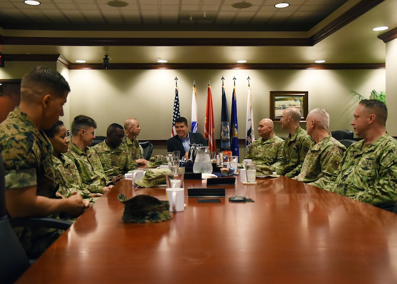 The Honorable John W. Henderson, Assistant Secretary of the Air Force for Installations, Environment and Energy, speaks to base leadership during his visit to Goodfellow Air Force Base, Texas, July 16, 2019. Henderson visited to discuss base infrastructure and the future of intelligence and fire protection training here. (U.S. Air Force photo by Staff Sgt. Chad Warren/Released)