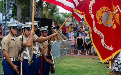 Members of the Marine Corps Recruit Depot Parris Island color guard take part in the opening ceremony of the Beaufort Water Festival in downtown Beaufort, July 12.